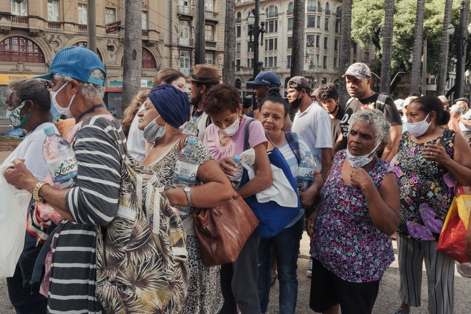 Homeless people in the center of São Paulo, near the Metropolitan Cathedral