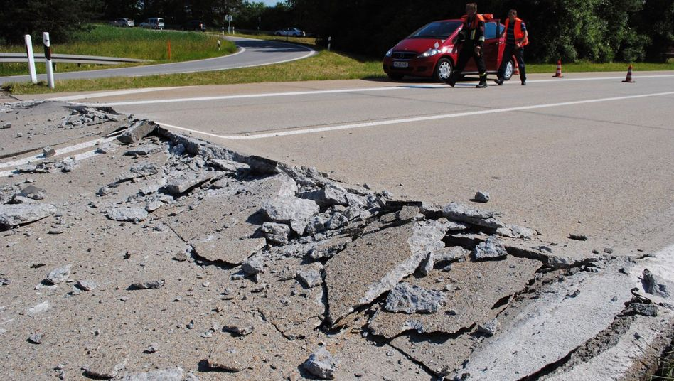 A motorcyclist was killed Wednesday after driving over this rip in the highway near Abensberg.