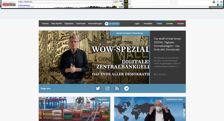 Screenshot aus dem Web-Archive: Die Abbildung zeigt, dass KenFM am Abend des 12. Juni 2021 nur in einer Version vom 31. Mai 2021 zu sehen war.