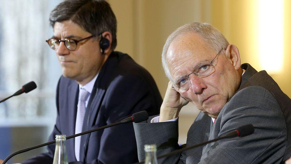 Finanzminister Lew (l.) und Schäuble: Nicht immer einer Meinung