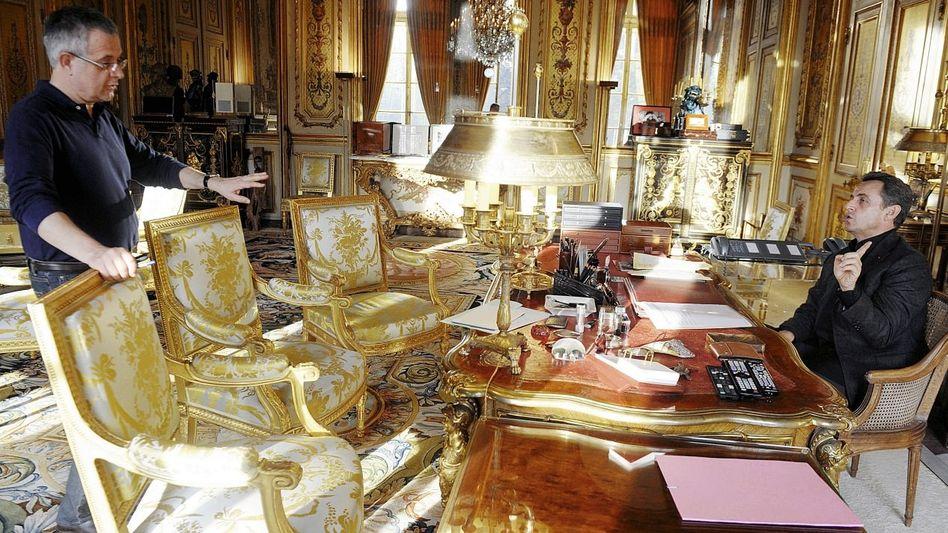 Stabschef Musca, Präsident Sarkozy im Elysée-Palast: Ein Büro wie die Kulisse eines Historienfilms