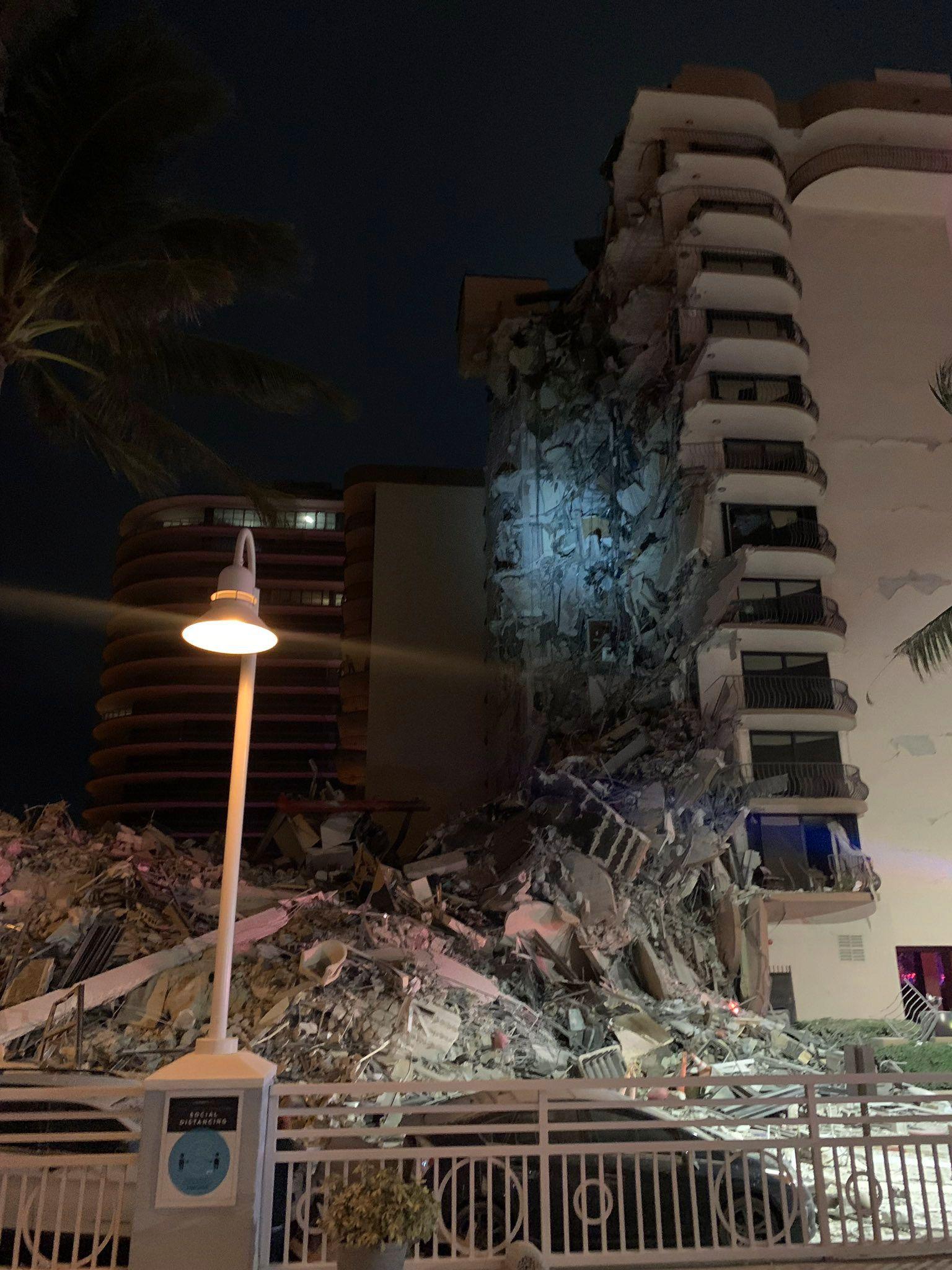 Multi-story building partially collapses near Miami, Florida