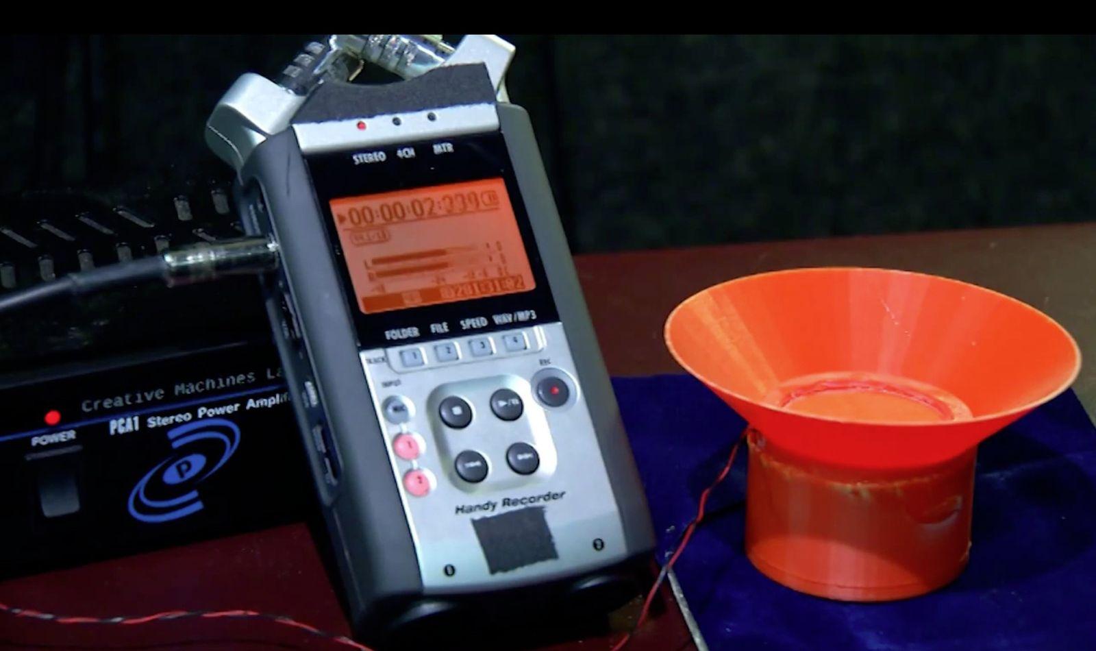 NUR ALS ZITAT Screenshot 3-D-Drucker Lautsprecher Cornell