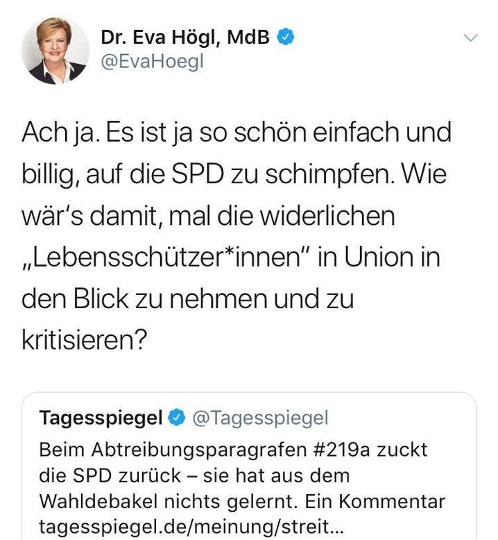 Mittlerweile gelöschter Tweet von Eva Högl, Screenshot