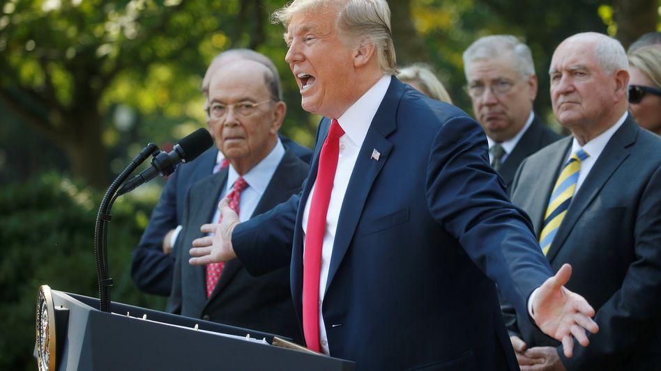 Donald Trump im Rosengarten des Weißen Hauses