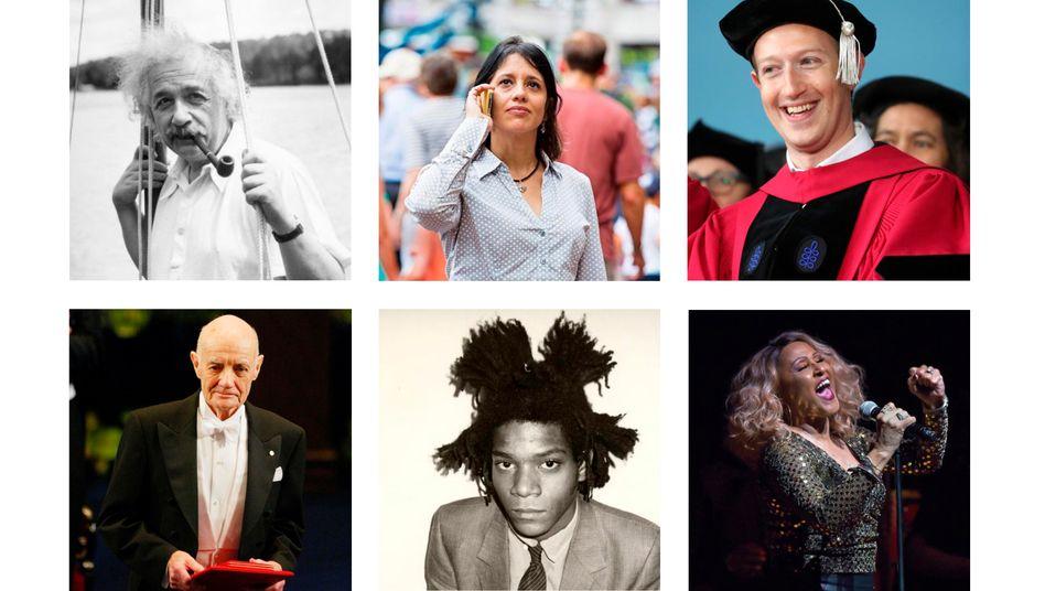 Albert Einstein, Marta Gonzalez, Mark Zuckerberg, John B. Fenn, Jean-Michel Basquiat, Darlene Love