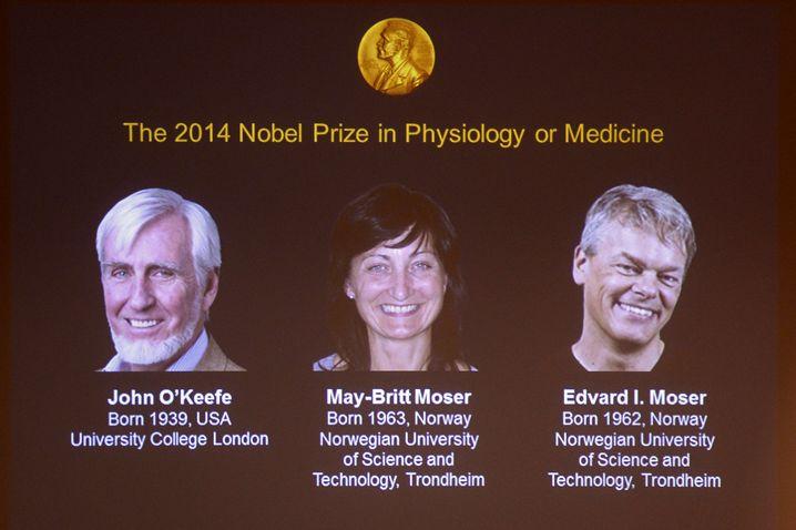 Preisträger: Die drei Wissenschaftler haben das räumliche Denken des Gehirns erforscht