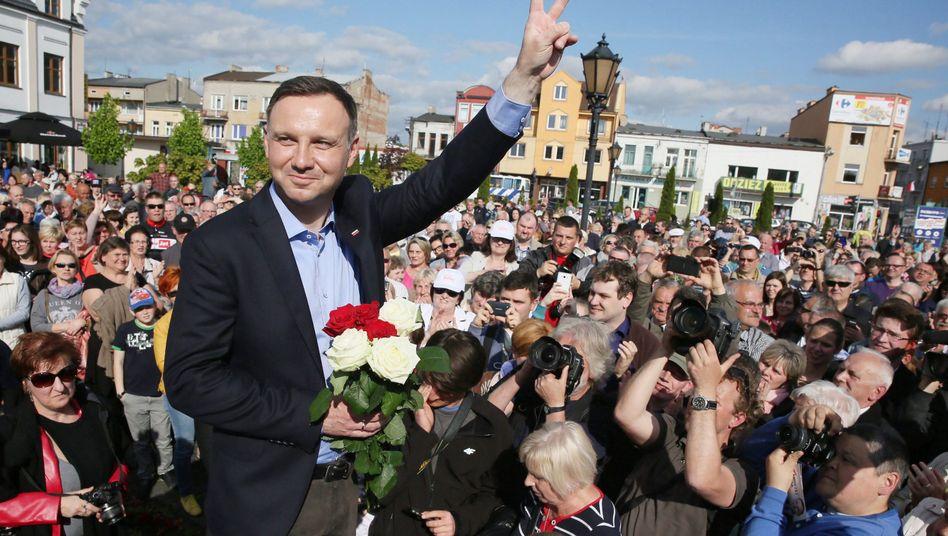 Präsidentschaftskandidat Duda (am Montag in Sochaczew): Wandel in Polen?