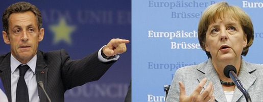 Nicolas Sarkozy and Angela Merkel were intent on diplomacy in Brussels on Monday.