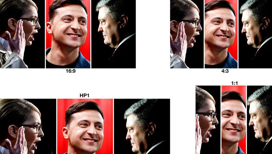 Julija Tymoschenko, Wolodymyr Selensky, Petro Poroschenko (v.l.): Wer gewinnt die Wahl?