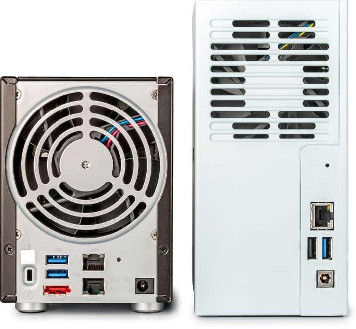 Für den Einsatz im Homeoffice braucht einNAS Gigabit-Ethernet und USB 3.0 (rechts); ein zweiter Ethernet-Port ist ebenso verzichtbar wie eine eSATA-Buchse (links, rot) zur Erweiterung