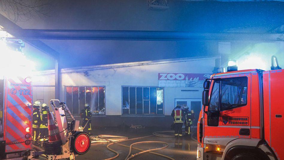 60 Feuerwehrleute waren bei dem Brand in einer Zoohandlung in Remscheid in der Nacht zu Sonntag im Einsatz