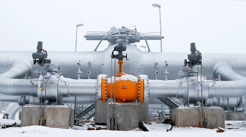 A pipeline delivering Russian natural gas to Europe.