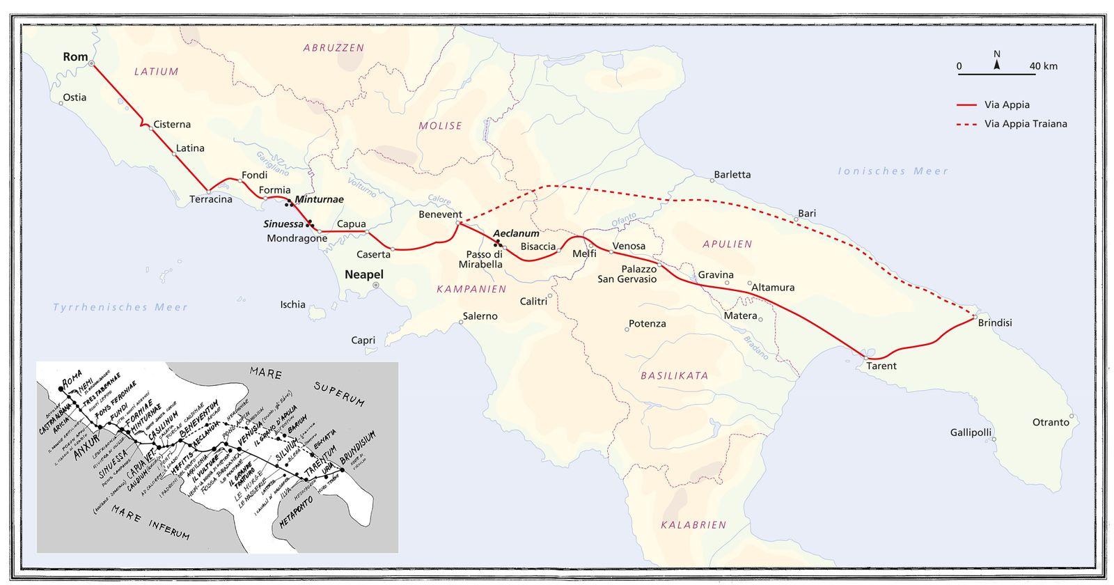 EINMALIGE VERWENDUNG Via Appia/ Karte