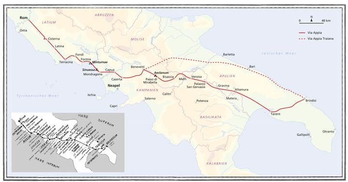 Via Appia: Ab Benevent teilt sie sich in zwei Routen