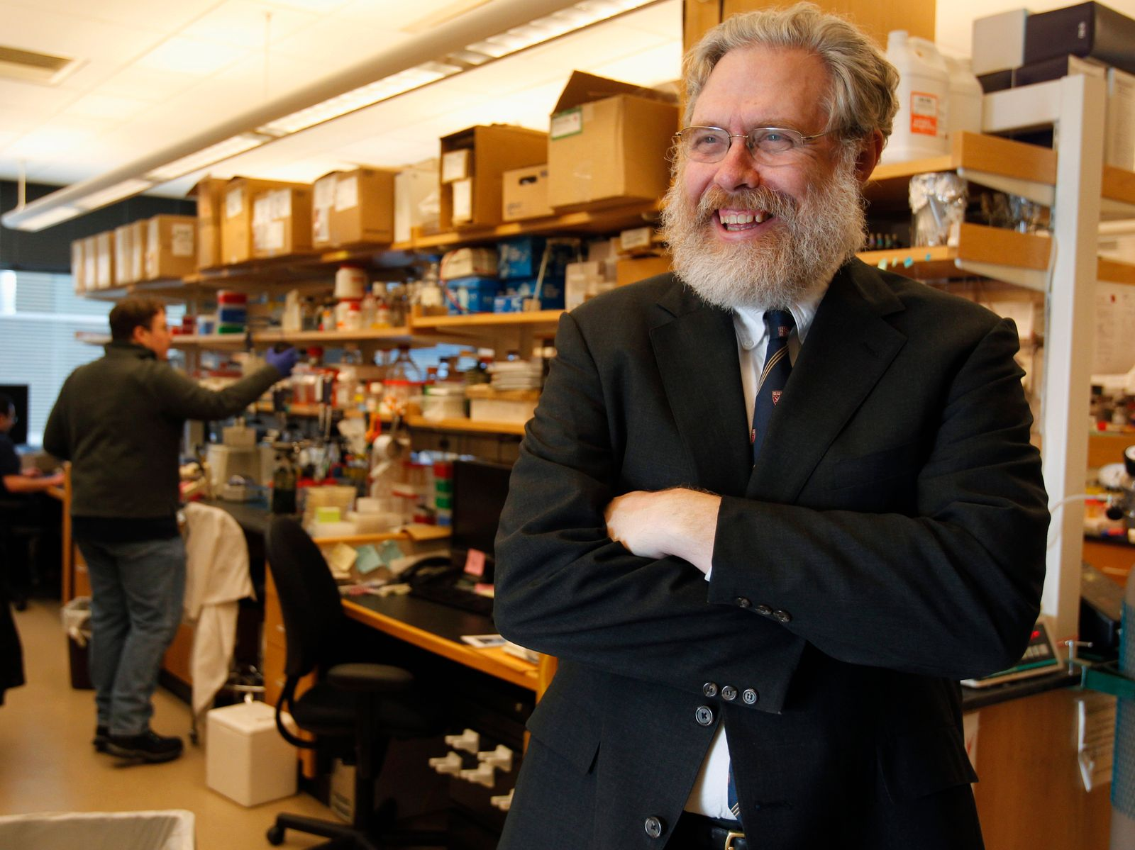 Harvard professor and scientist Church poses for a portrait inside his lab at Harvard Medical School in Boston