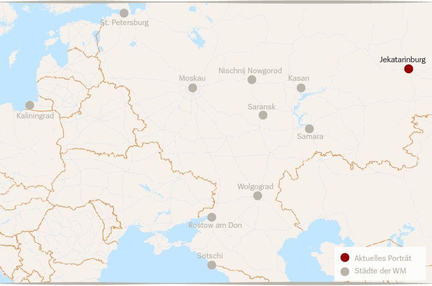 Karte Russland WM Städte Jekatarinburg
