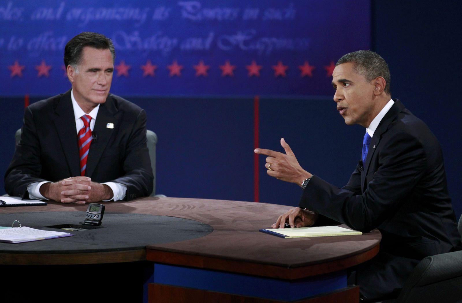 Obama s Hand bei der TV-Debatte gegen Romney