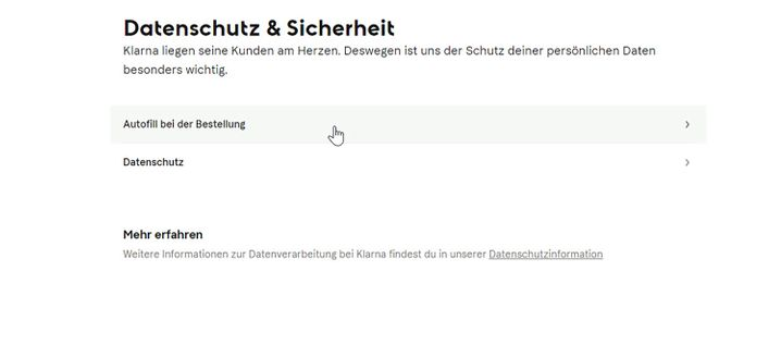 Auf der Klarna-Website lässt sich die Autofill-Funktion abstellen