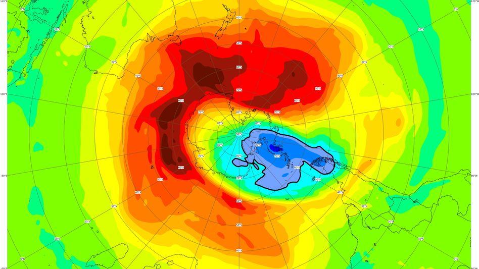 Ozonloch über der Antarktis: Die blauen Bereiche sind die mit der geringsten Ozonkonzentration