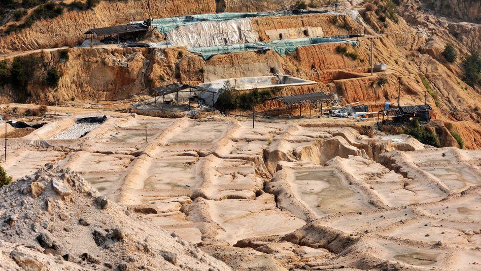 Seltene-Erden-Mine im chinesischen Ganxian: offiziell 80, inoffiziell 90 Prozent Marktanteil weltweit