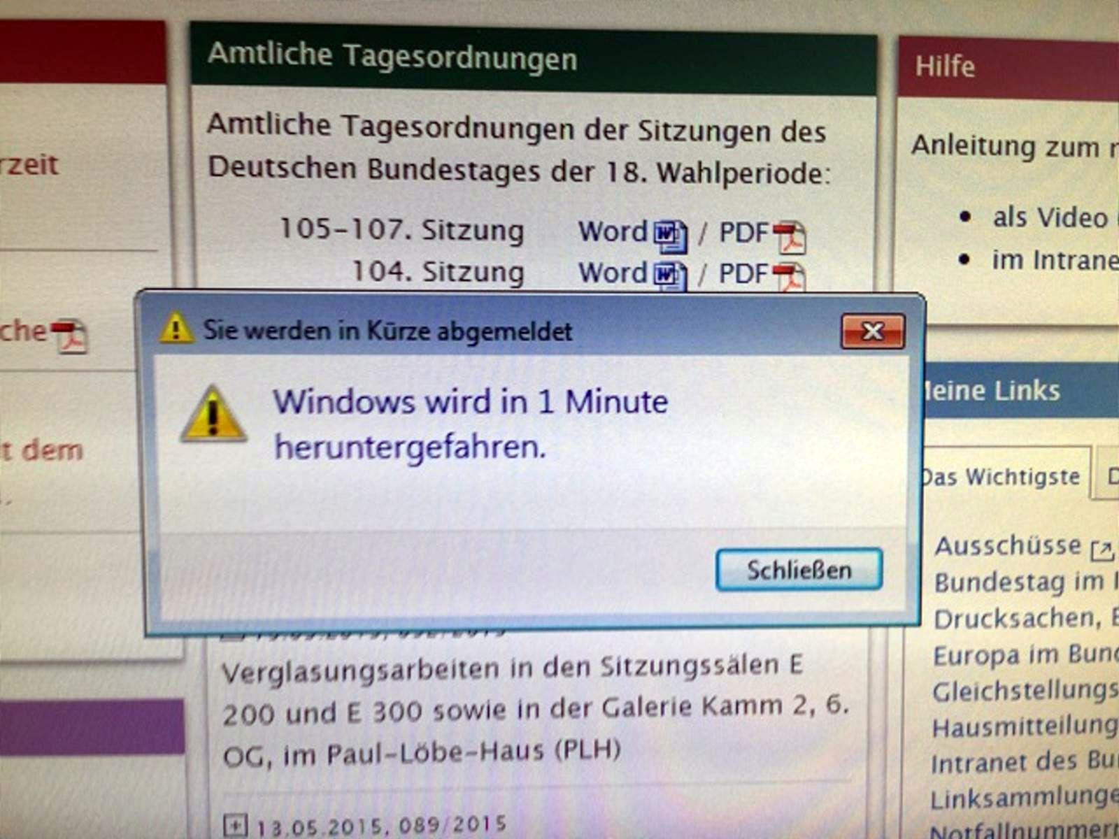 NUR ALS ZITAT Screenshot Hackerangriff auf Bundestag