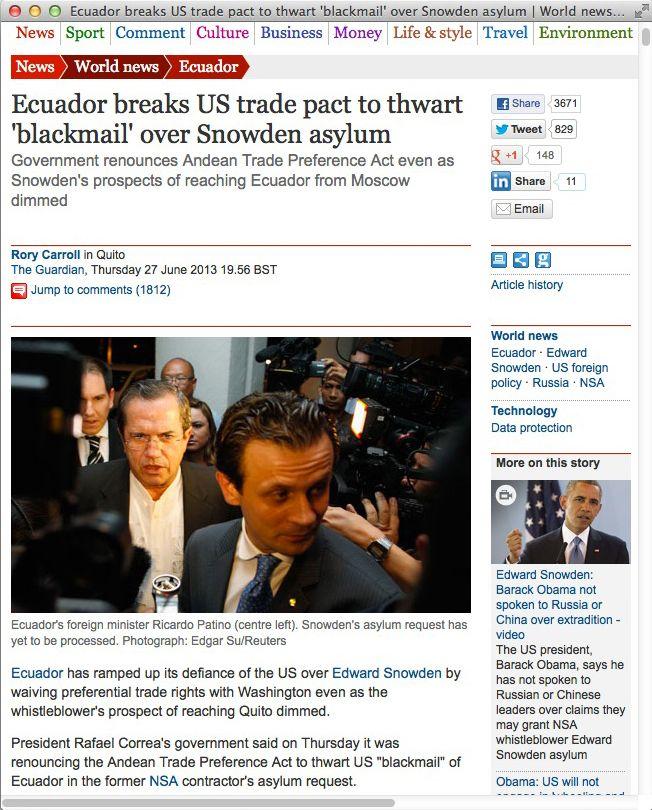 NUR ALS ZITAT Screenshot Ecuador breaks US trade