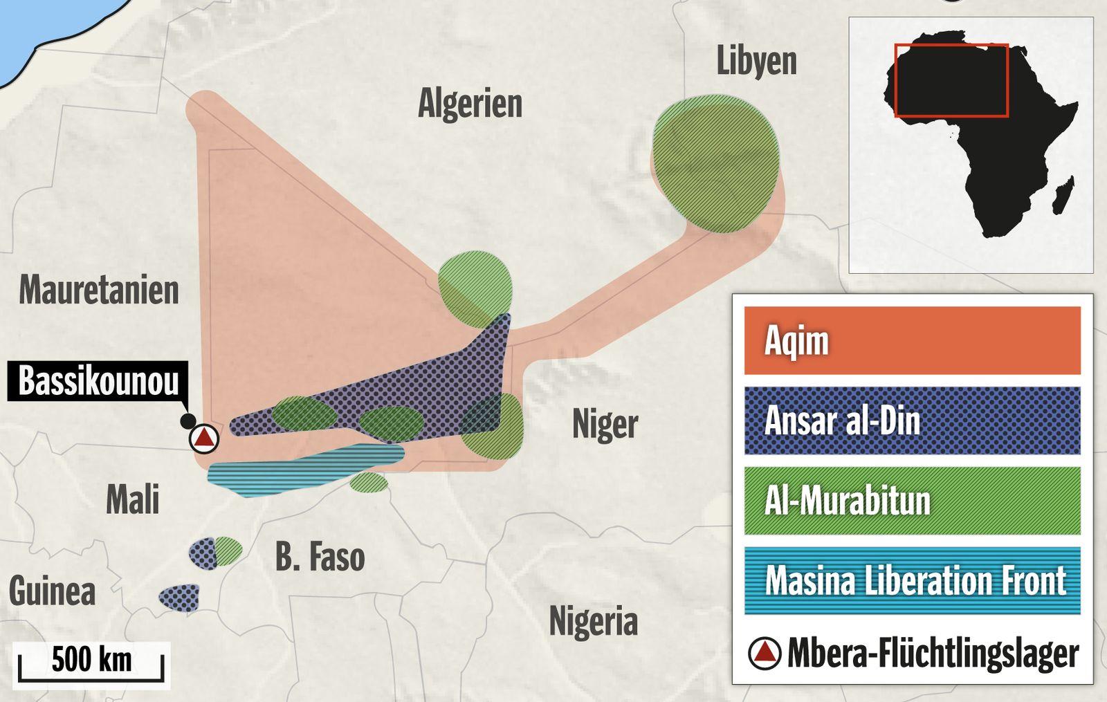 Karte Terrorgruppen in der Sahel-Zone Mali Mauretanien