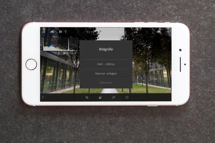 Lightroom-App auf einem iPhone
