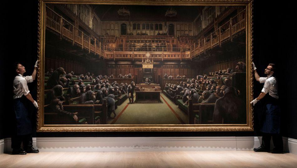 Banksys Werk wurde für mehr als das Fünffache des Schätzwertes versteigert