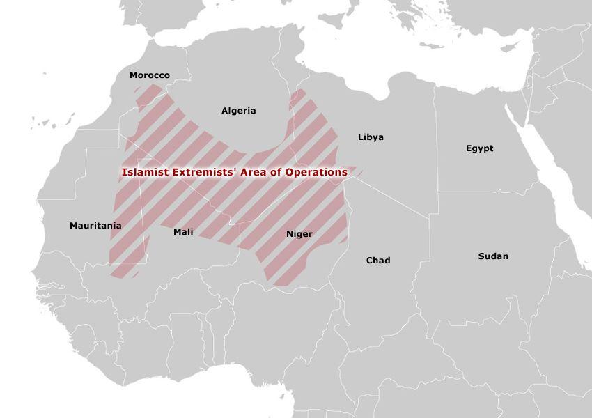 Karte Afrika - Islamist Extremists' Area of Operations