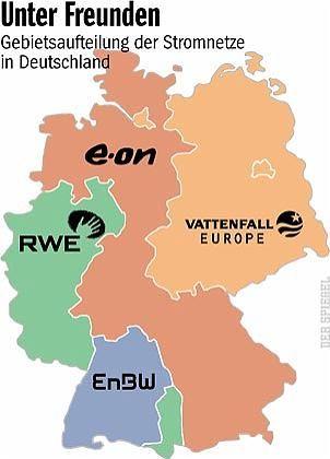 Stromnetze in Deutschland: Vattenfall ist im Osten und in Hamburg präsent