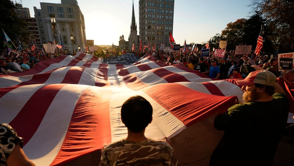 A giant American flag at a protest in Pennsylvania
