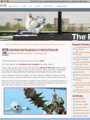 """Jagd auf die Jäger: Mit Bildern süßer Robbenbabys mit großen, traurigen Augen ruft Peta zum Online-Protest in """"World of Warcraft"""" auf"""