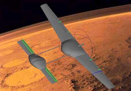 Japanisches Raumschiff im Orbit um den Mars (Zeichnung): Tokio schmiedet ehrgeizige Pläne