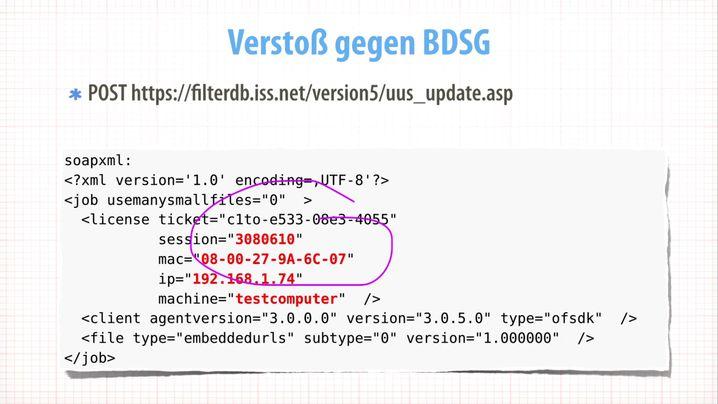 Folie aus Freudes Vortrag (Screenshot): Warum werden diese Daten übermittelt?
