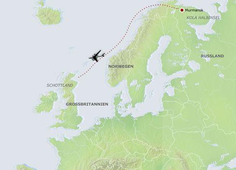 Die Route der Russen-Bomber