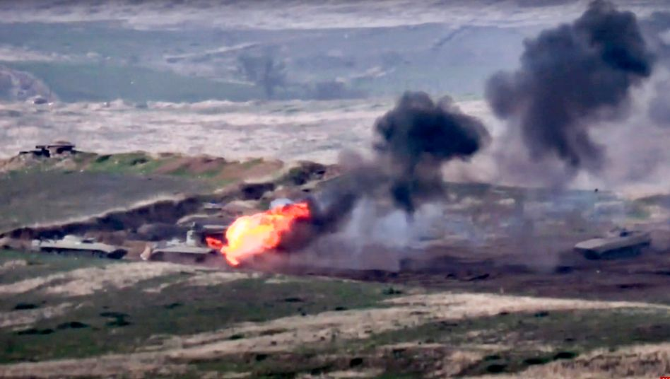Konflikt in Bergkarabach (Szene aus einem Video des armenischen Verteidigungsministeriums)