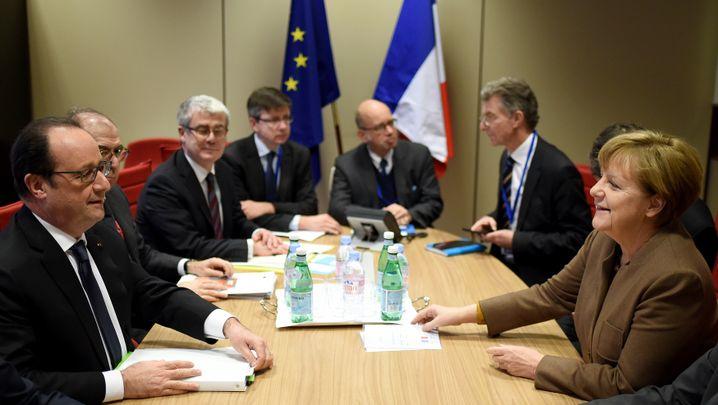 Treffen in Brüssel mit Hollande (l.) und Merkel (r.)