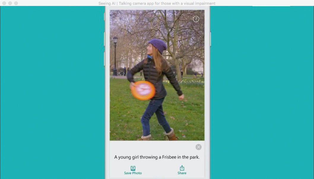 NUR ALS ZITAT Screenshot Seeing AI Microsoft