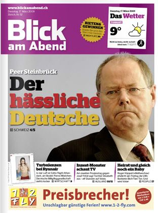 "German Finance Minister Peer Steinbrück: ""The ugly German""."