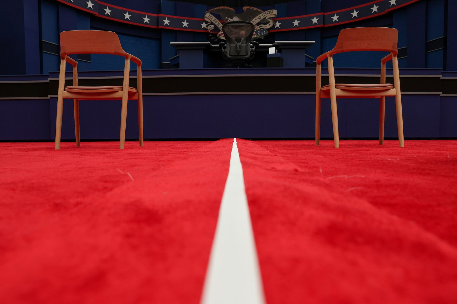 The stage awaits U.S. President Trump and Democratic U.S. presidential nominee Biden before their first presidential debate in Cleveland, Ohio