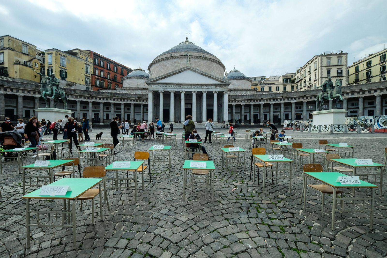 A moment of the demonstration against DaD (Distance Learning) at Plebiscito square in Naples, southern Italy PUBLICATIO
