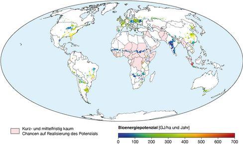 Bionergie-Potential: Die Karte zeigt die räumliche Verteilung möglicher Anbauflächen von Energiepflanzen im Jahr 2050