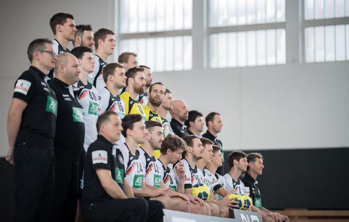 Deutsche Handball-Nationalmannschaft beim Teamfoto