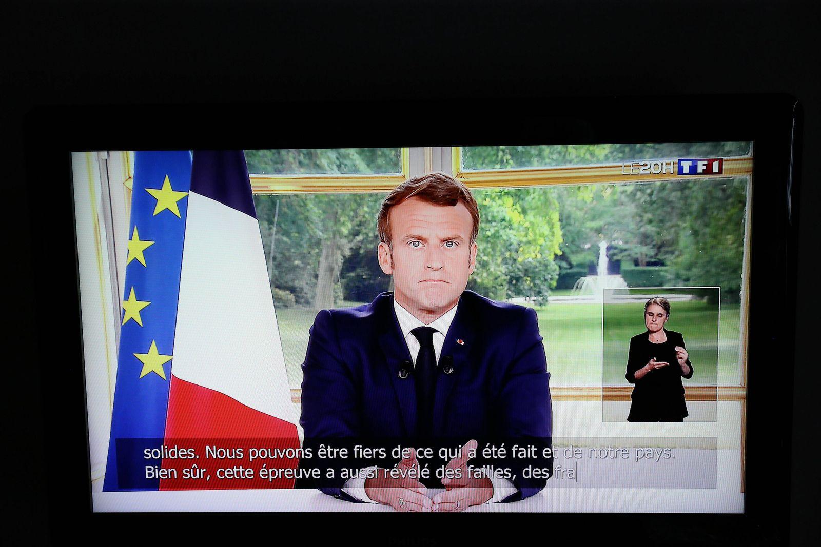 capture d ecran de l allocution du president Emmanuel Macron qui parle aux Francais ce dimanche 14 juin trois mois apre