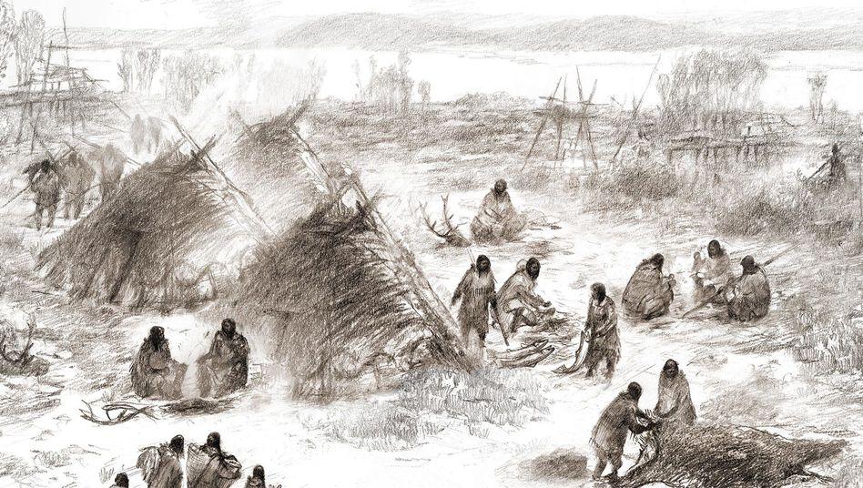 Künstlerische Darstellung eines Camps der Alten Beringianer