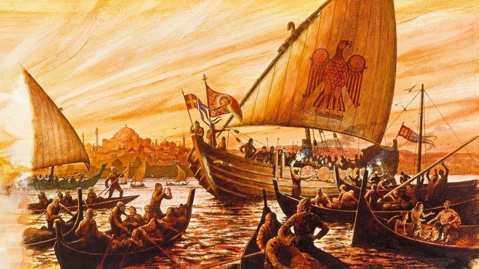 Dank überlegener Schiffbautechnik stießen die skandinavischen Raubfahrer weit ins Mittelmeer vor, sogar vor Byzanz kreuzten sie auf. Ihre normannischen Nachfahren gründeten auf Sizilien einen hochmodernen Staat.