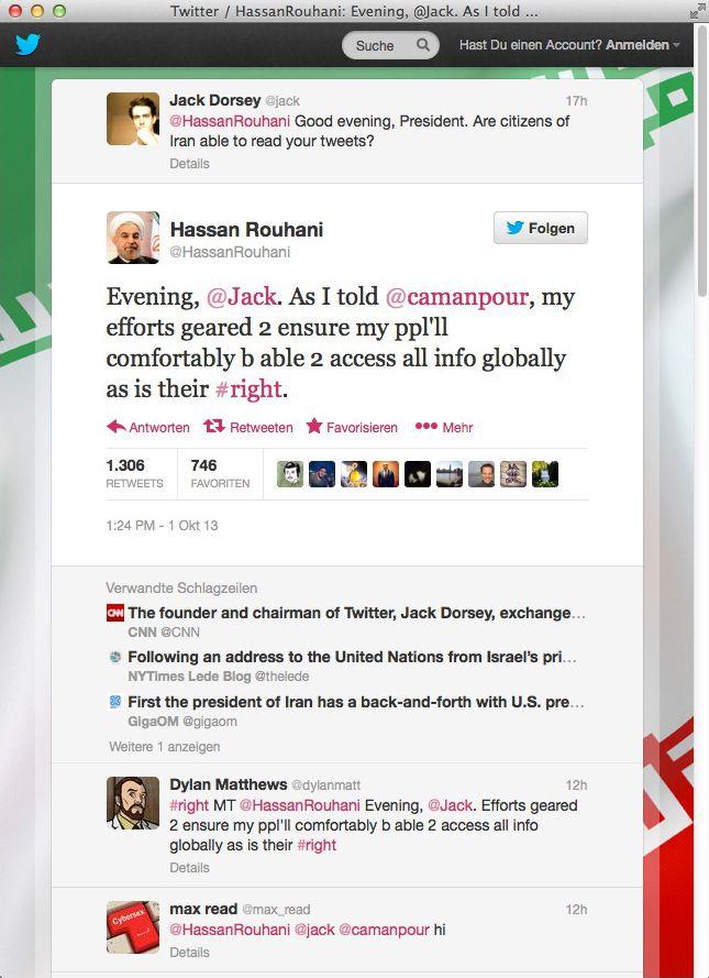 NUR ALS ZITAT Screenshot Twitter Hassan Rouhani