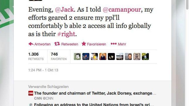 """Rohani-Tweet: """"Guten Abend, @Jack"""""""